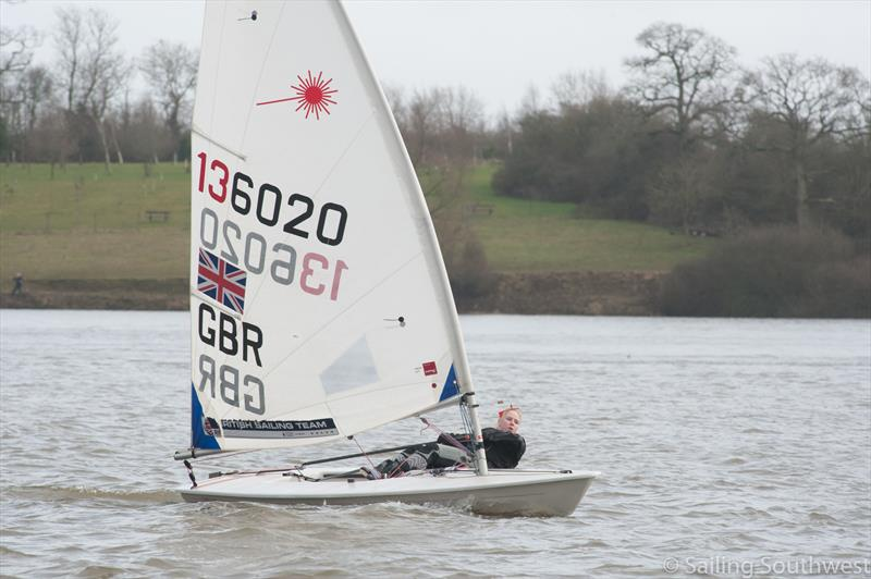 Local junior sailor Kelsey Green in Laser 136020 during the Sutton Bingham Icicle: SSW Winter Series Round 8 - photo © Lottie Miles
