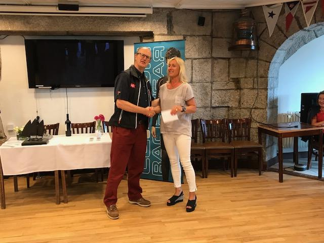 RStGYC Rear Commodore Peter Bowring presents 1st lady Shirley Gilmore with her Lennon Racewear voucher in the Lennon Irish Laser Masters - photo © Heather King