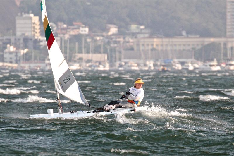 Gintare Scheidt (LTU) tunes up in a 35kt squall before racing was abandoned - Rio Olympics photo copyright Richard Gladwell taken at  and featuring the Laser Radial class