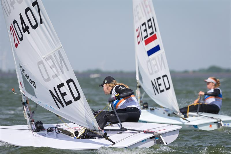 Marit Bouwmeester (NED) racing against Maxime Jonker (NED) at Medemblik Regatta 2017 photo copyright Klaas Wiersma taken at Royal Yacht Club Hollandia and featuring the Laser Radial class
