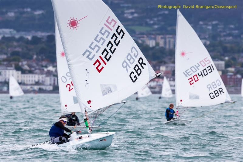 Andrew Byrne (GBR) in the Apprentice Radial class on the final day of the DLR Laser Masters World Championships in Dublin Bay - photo © David Branigan / www.oceansport.ie