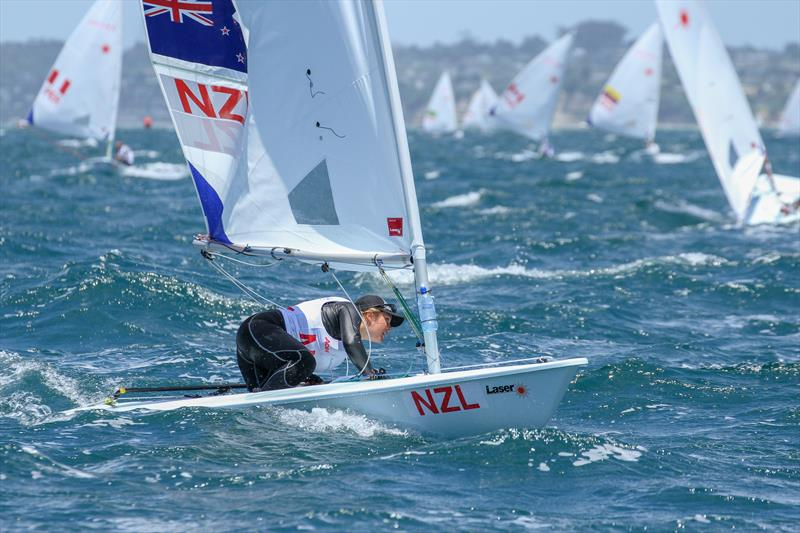Olivia Christie (NZL) gybes at the leeward mark - 2016 AON Youth Worlds, Torbay sailing Club - photo © Richard Gladwell