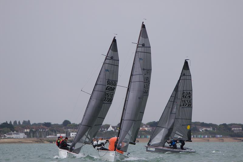 Nick Rogers, sailing Black, in pursuit of two boats on day 4 of the SB20 Worlds at Cowes - photo © Jennifer Burgis