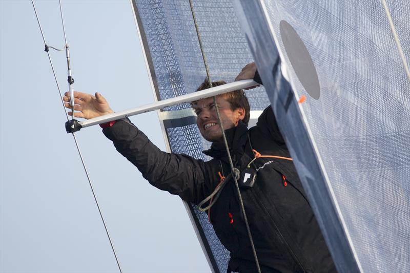 Pierre Quiroga makes repairs mid-race in Stage 4 of La Solitaire URGO Le Figaro - photo © Alexis Courcoux