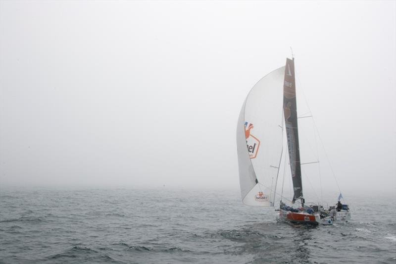 The Figaros in the fog during the 4th stage of the Solitaire Urgo Le Figaro between Roscoff and Dieppe - photo © Alexis Courcoux