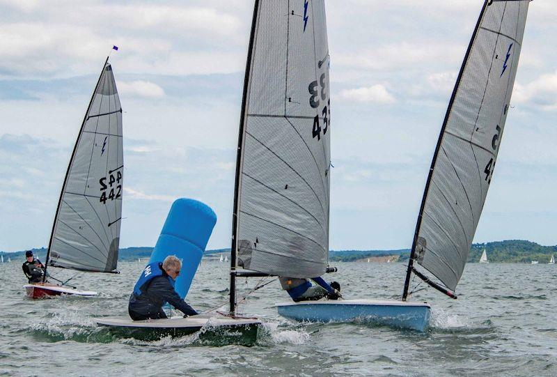 John Butler leads Ben Twist and Peter Withrington in the Noble Marine Lightning 368 Sea Championships at the Lymington Dinghy Regatta photo copyright Paul French taken at Lymington Town Sailing Club and featuring the Lightning 368 class