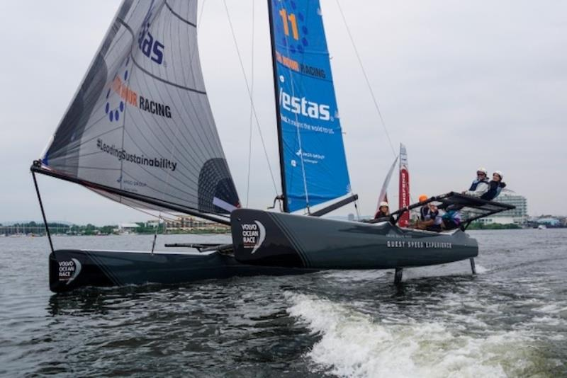 M32 sailing with the Volvo Ocean Race teams at the event - photo © Caron Saul