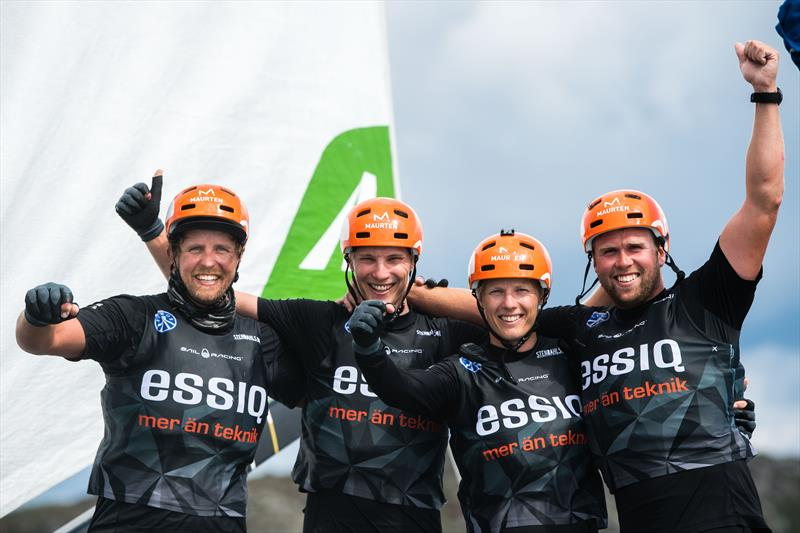 Essiq Racing Team of Sweden with skipper Nicklas Dackhammar celebrates during Day 5 of Match Cup Sweden, July 7 photo copyright Mathias Bergeld / World Match Racing Tour taken at  and featuring the M32 class