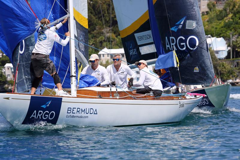 Skipper Ian Williams (right) and the Team GAC Pindar crew round a windward mark during the Final of the 69th Argo Group Gold Cup in May 2019 - photo © Charles Anderson