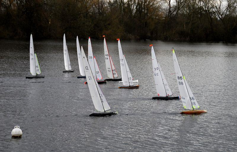 The whole fleet powering to windward - Marblehead Mermaid Trophy at Guildford photo copyright Roger Stollery taken at Guildford Model Yacht Club and featuring the Marblehead class