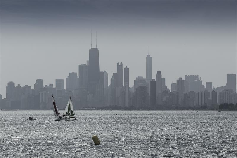 A beautiful backdrop during the Quarter Finals of the Chicago Match Cup photo copyright Ian Roman / AWMRT taken at Chicago Match Race Center and featuring the Match Racing class