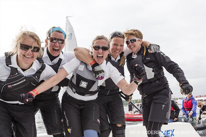 Lotte Meldgaard's Danish team win the 2015 ISAF Women's Match Racing World Championship in Middelfart photo copyright Mick Anderson / www.sailingpix.dk taken at Middelfart Sailing Club and featuring the Match Racing class