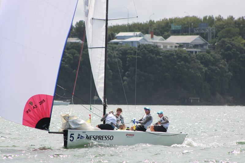 Stevenson (RNZYS) on day 3 of the 2018 Nespresso Youth International Match Racing Cup - photo © Andrew Delves