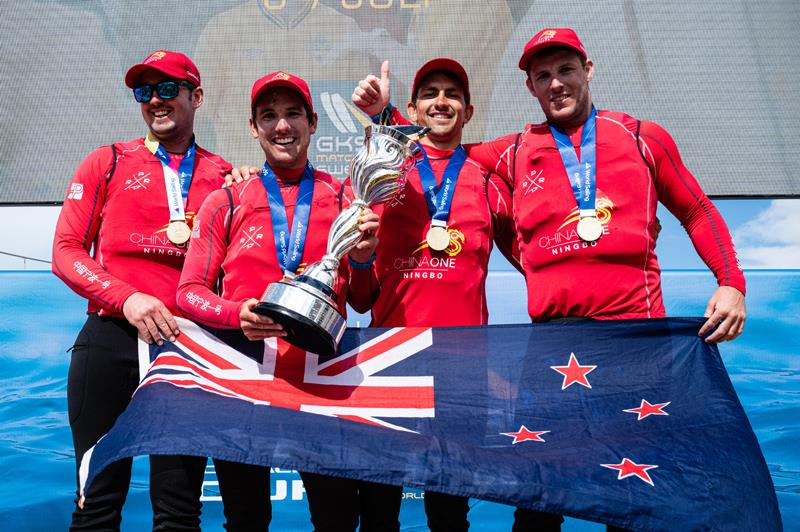 Skipper Phil Robertson (second from left) and crew are all smiles after winning the 2019 Open Match Racing World Championship photo copyright Drew Malcolm / ChinaOne.Ningbo taken at  and featuring the Match Racing class