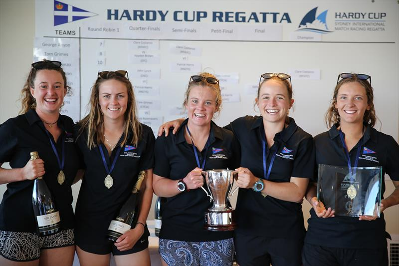 Hardy Cup winners L-R Clare Costanzo, Hannah Lanz, Jess Angus, Celia Wilson, Ruby Scholten - 2018 Hardy Cup Sydney International Match Racing Regatta - photo © Darcie C Photography