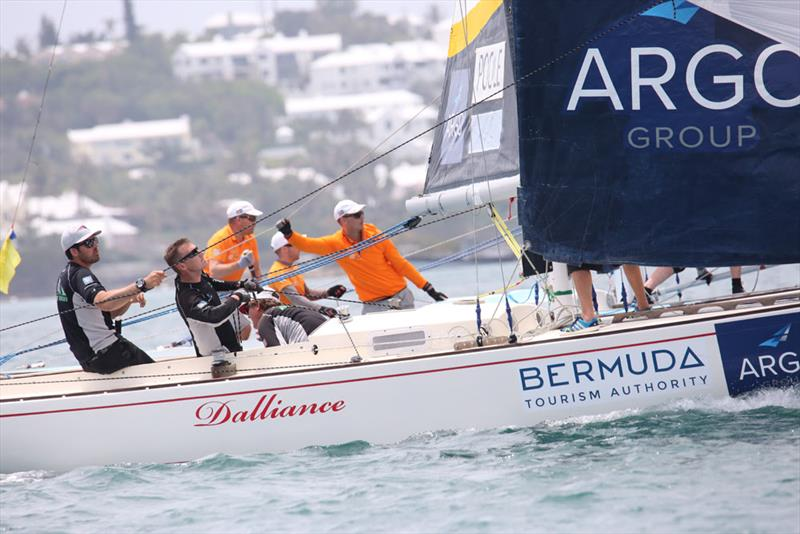 Chris Poole (black shirts) and Johnie Berntsson sail side-by-side to a leeward mark - 2018 Argo Group Gold Cup - Day 2 - photo © Charles Anderson / RBYC