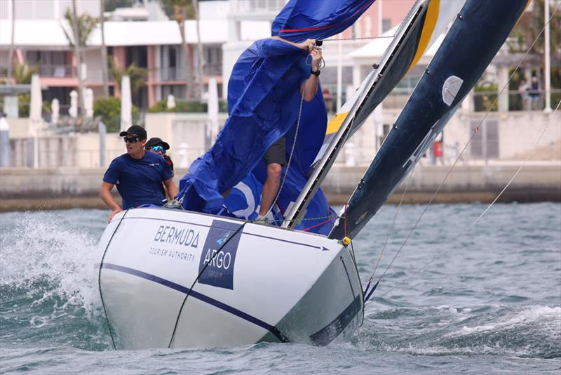 Torvar Mirsky's bowman Graeme Spence is wrapped in the spinnaker - 2018 Argo Group Gold Cup - Day 2 - photo © Charles Anderson / RBYC
