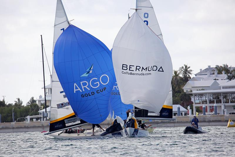 Torvar Mirsky (left) and Maxime Mesnil engage in a downwind duel late in the afternoon of Day 1. Despite holding a penalty, Mesnil would win the match - photo © Charles Anderson