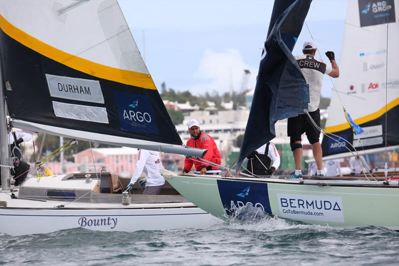 Bermudian skipper Kelsey Durham keeps an eye on the bow of Nicklas Dackhammar during a match in Flight 13 - Argo Group Gold Cup - photo © Charles Anderson