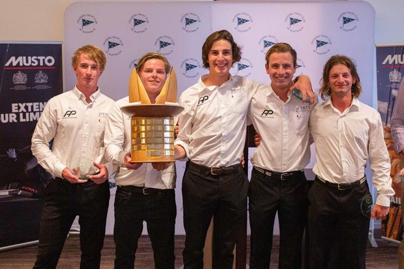 Jordan Stevenson and his team receiving the 'Joy Ride' Trophy -  Musto Youth International Match Racing Regatta 2019 - photo © CYCA / Hamish Hardy