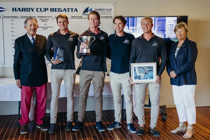 Sir James Hardy left with the 2019 Hardy Cup winners RNZYS and RSYS Captain Karen Gojnich - photo © Darcie Collington Photography