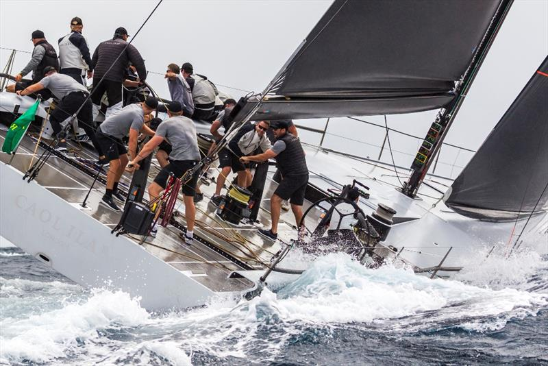 Alex Schaerer's Maxi 72 Caol Ila R was ahead until the wind died today. - 2019 Rolex Giraglia photo copyright IMA / Studio Borlenghi taken at Yacht Club Italiano and featuring the Maxi 72 Class class