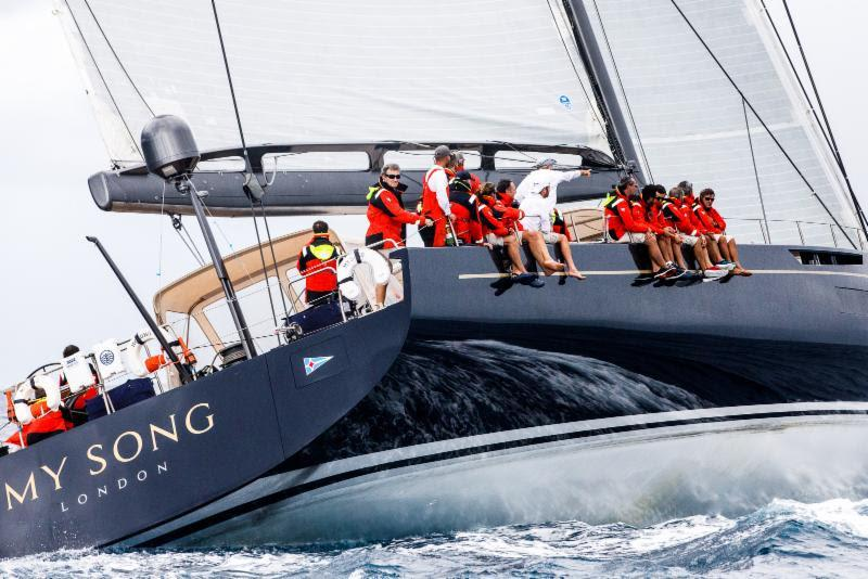 My Song, the largest yacht in the 2018 RORC Transatlantic Race arrives at the finish in Grenada photo copyright RORC / Arthur Daniel taken at Royal Ocean Racing Club and featuring the Maxi class