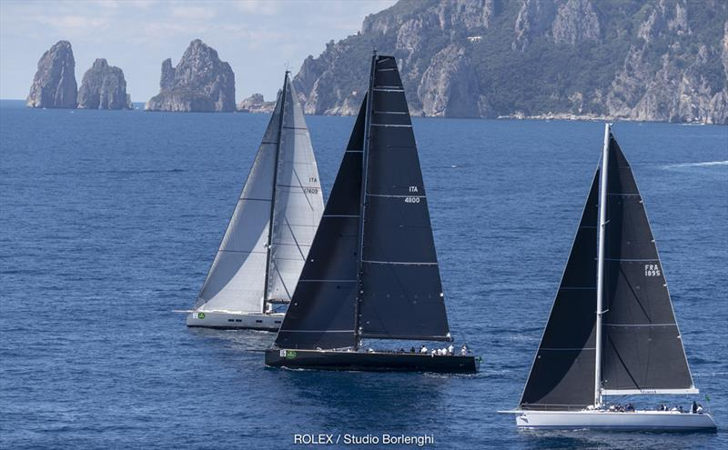 Conditions turned light then died as the Maxis ventured out beyond - here showing the famous Faraglioni rocks in the distance - 2018 Rolex Capri Sailing Week - photo © Carlo Borlenghi
