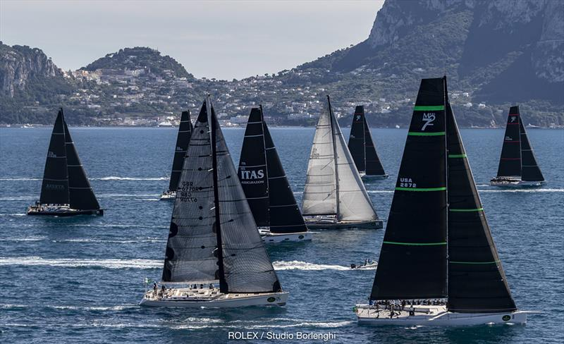 Maxi and Mylius fleets set sail on the Bay of Naples - 2018 Rolex Capri Sailing Week - photo © Carlo Borlenghi