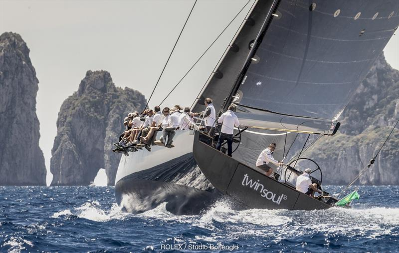 Luciano Gandini and his new Mylius 80 Twin Soul B were first to complete the lap of Capri today - 2018 Rolex Capri Sailing Week - photo © Rolex / Studio Borlenghi