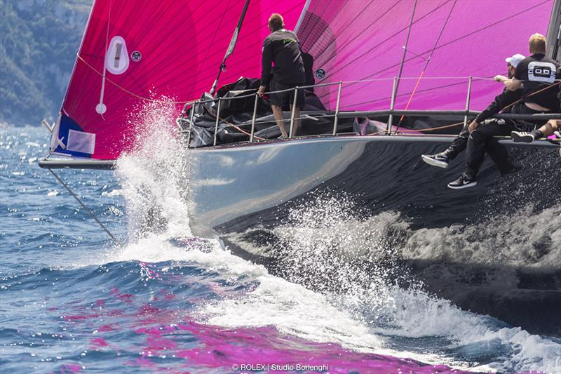 Sir Peter Ogden's Jethou is stlil sporting her characteristic fuchsia spinnaker - Rolex Capri Sailing Week - photo © Carlo Borlenghi
