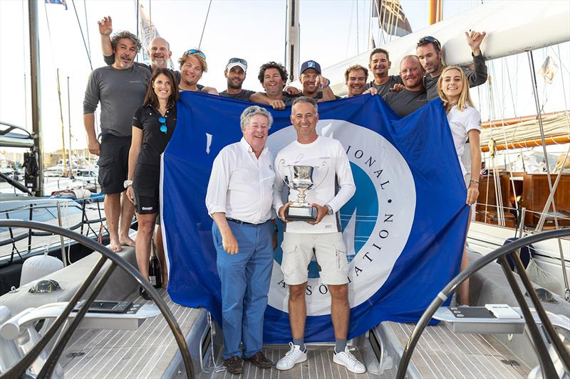 IMA Secretary General Andrew McIrvine presents Wallyño's Benoît de Froidmont and crew with the IMA Mediterranean Maxi Inshore Challenge trophy. - photo © Gianfranco Forza