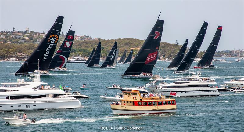 A sight that will never be seen again - five top supermaxis start together - start 2019 Rolex Sydney Hobart Yacht race - December 2019 - photo © Carlo Borlenghi
