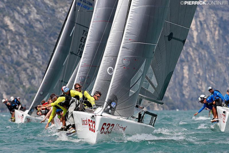 Caipirinha Junior (ITA633, 1-3-14) by the tandem Ivaldi-Benussi, winners of the first regatta today, has jumped up to the second place in the ranking - Melges 24 European Championship 2018 photo copyright Pierrick Contin taken at Fraglia Vela Riva and featuring the Melges 24 class
