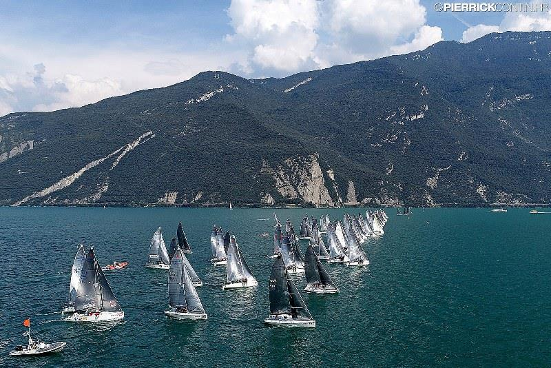 Melges 24 fleet on Lake Garda at the 2018 European Championship in August photo copyright Pierrick Contin taken at  and featuring the Melges 24 class