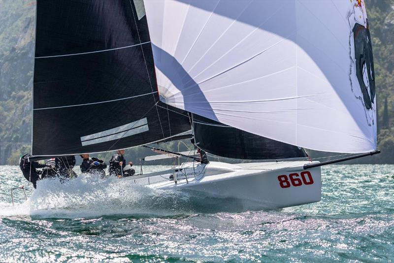 Andrea Pozzi's Bombarda ITA860 is currently second with 12 points and very consistent racing the breezy conditions of today (2-3-2). - Day 2 - Melges 24 European Sailing Series at Riva del Garda, Italy - photo © Mauro Melandri / Zerogradinord
