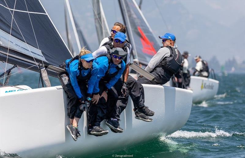 Miles Quinton's Gill Race Team GBR694 with Geoff Carveth at the helm  (7-14-3) is 8th in the overall ranking and third in Corinthian provisional podium. - Day 2 - Melges 24 European Sailing Series at Riva del Garda, Italy - photo © Mauro Melandri / Zerogradinord
