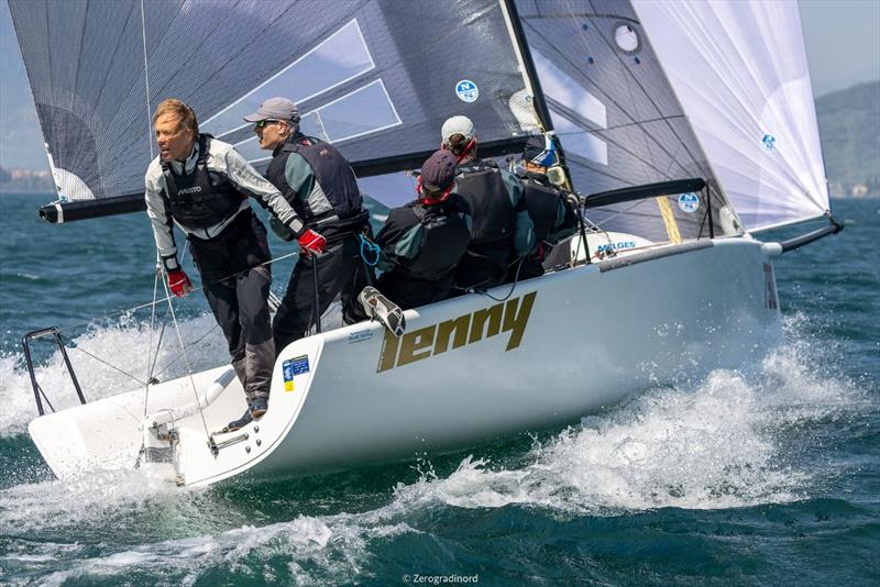 Fourth place is for Lenny EST790 (4-2-12) by Tõnu Tõniste, also leading the pack in the Corinthian division.  - Day 2 - Melges 24 European Sailing Series at Riva del Garda, Italy - photo © Mauro Melandri / Zerogradinord