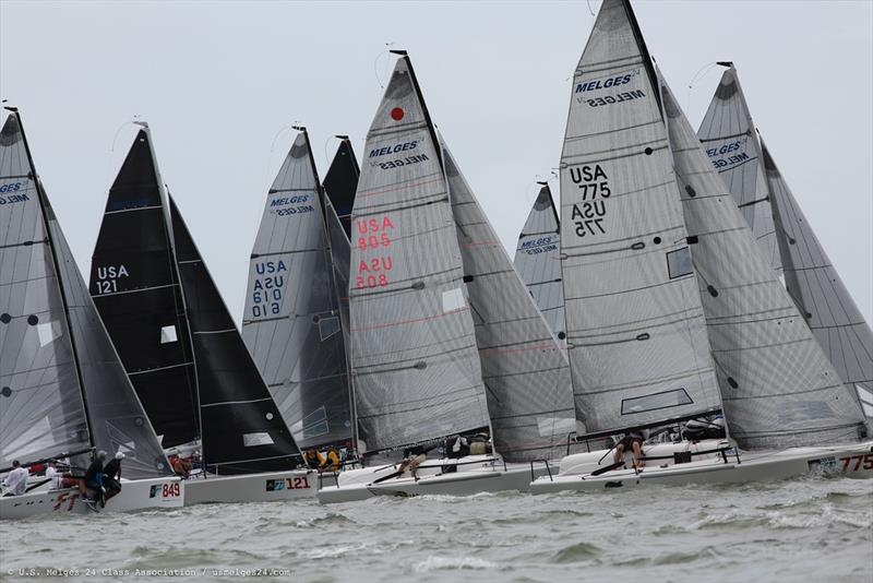 Melges 24 fleet at the Sperry Charleston Race Week 2019. photo copyright JOY / U.S. Melges 24 Class Association taken at  and featuring the Melges 24 class