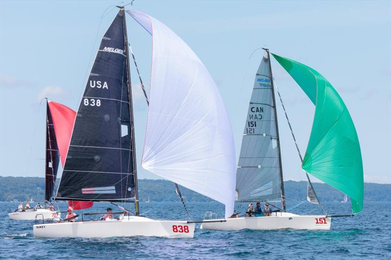 Corinthian power rules - Fraser McMillan (Green Spinnaker) beat Kevin Welch's MiKEY to the finish line in Race Four - 2019 Melges 24 North American Championship - photo © Bill Crawford - Harbor Pictures Company