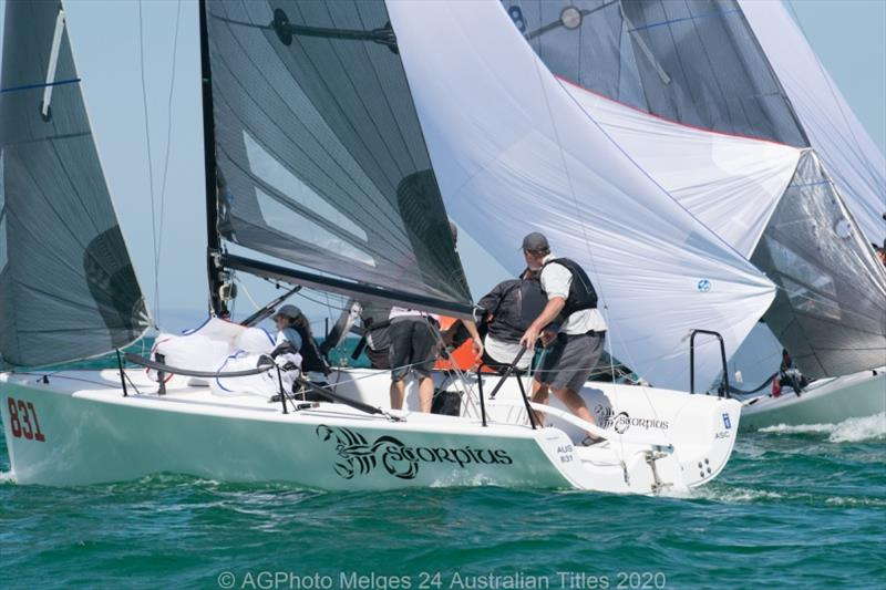 Sandy Higgins and his team on Scorpius sit one point behind the lead - 2020 Australian Melges 24 Nationals day 1 - photo © Ally Graham