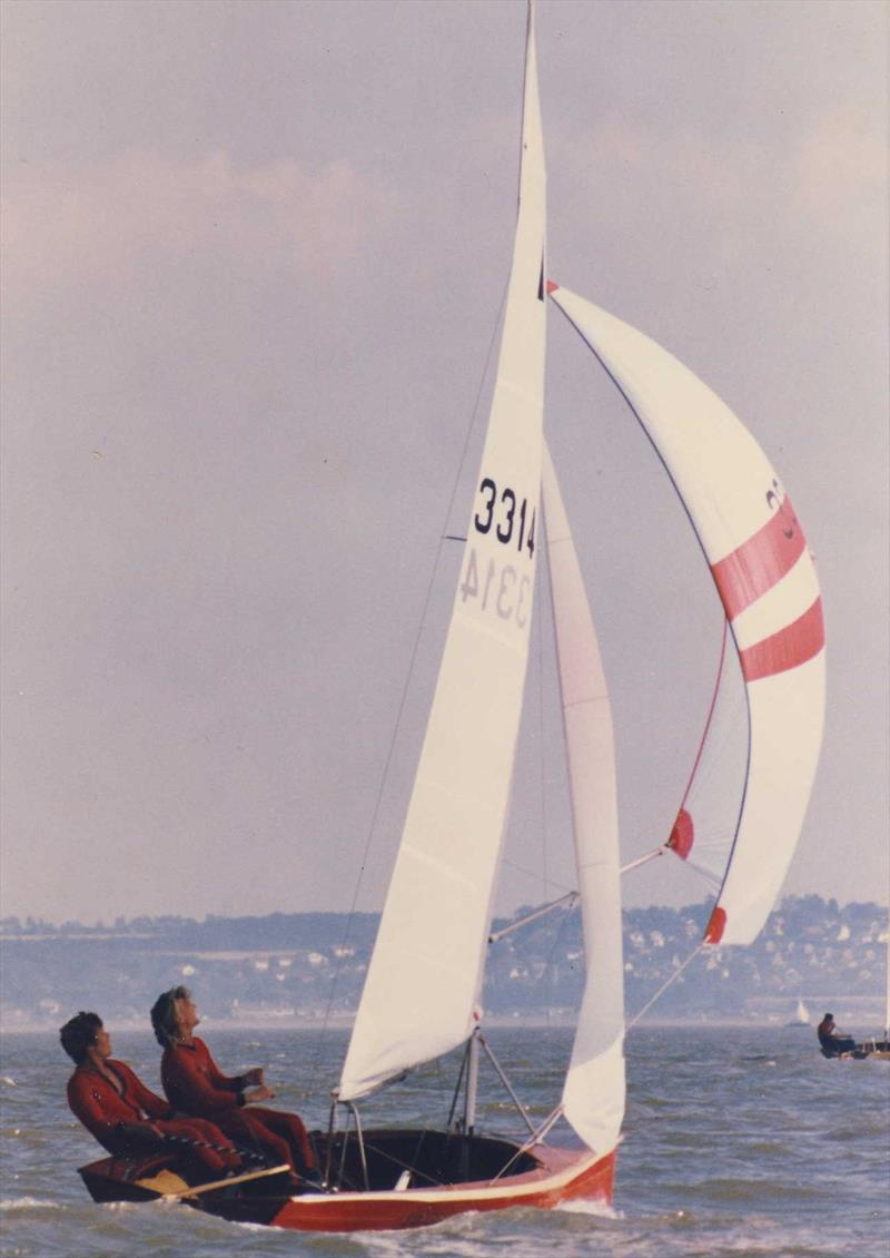 They say that winning the first one is the hardest; although lighter than most of the competition, Jon and Richard win their first Merlin Rocket Championships at Whitstable in 1983 - photo © Jon Turner