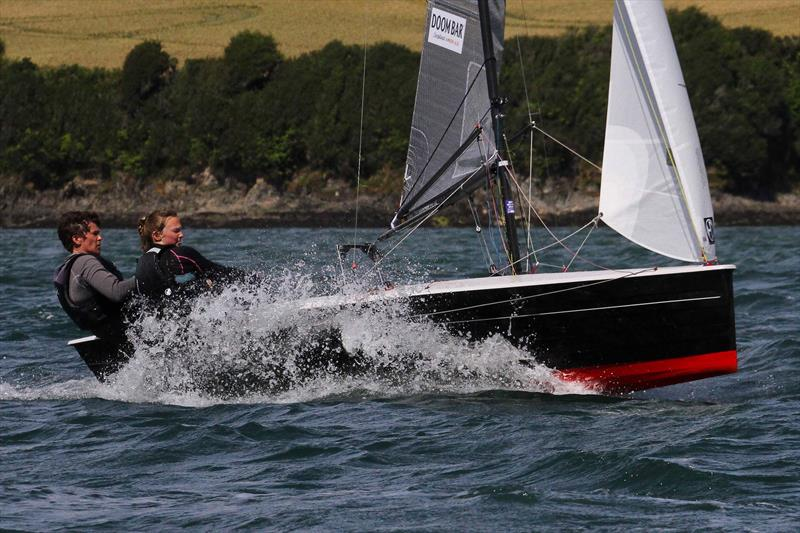 Sophie Mackley and Mary Henderson on Sharps Doom Bar Salcombe Merlin Week day 6 - photo © John Murrell / www.moor2seaeventphotography.co.uk