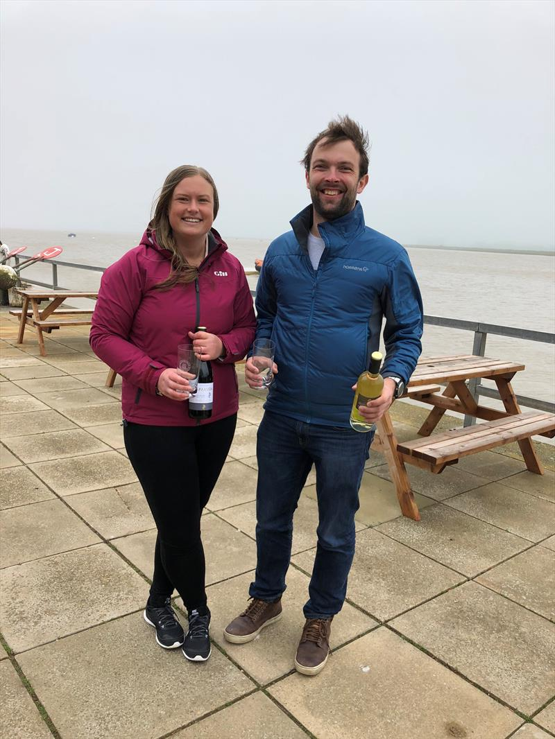 Tim Saxton & Jodie Green win the Craftinsure Silver Tiller Merlin Rocket Open at Aldeburgh photo copyright Fran Gifford taken at Aldeburgh Yacht Club and featuring the Merlin Rocket class