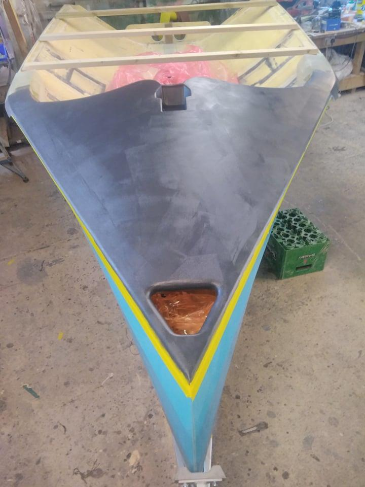 Making the foredeck Plug, note the nice radiused chute mouth and recessed mast step - photo © Rockatross