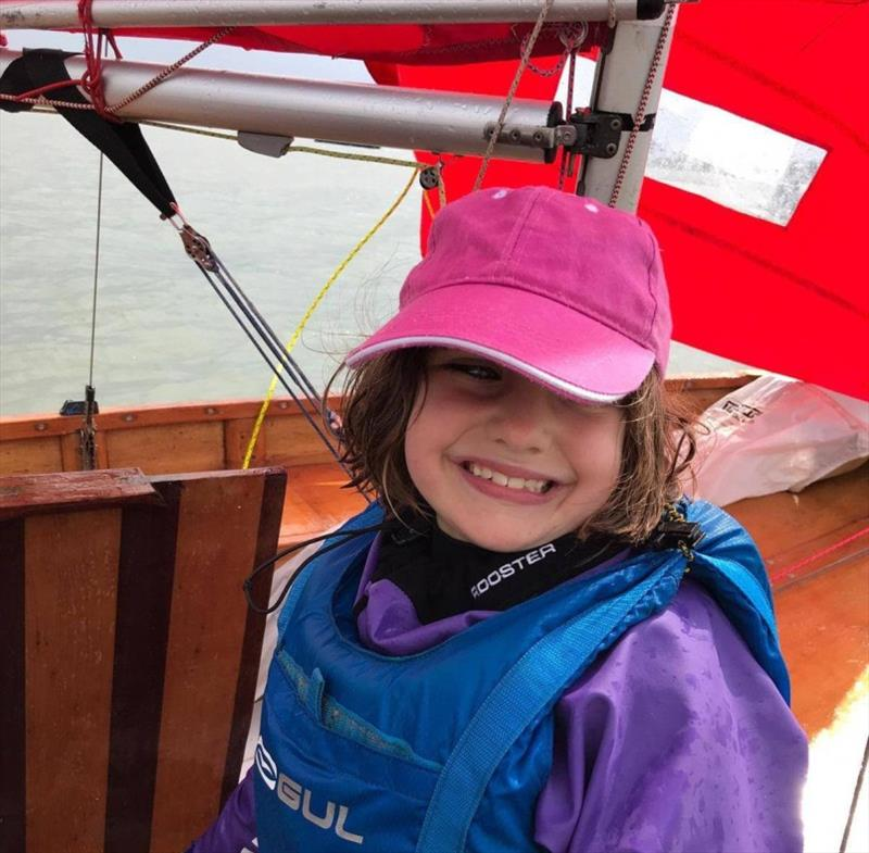 The huge grin on Florence Tavner's face sums up the joy of Pyefleet Week 2019 perfectly! photo copyright Fiona Brown taken at Brightlingsea Sailing Club and featuring the Mirror class