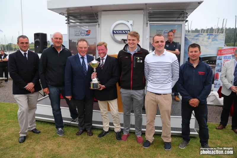 Paul Gibbons Anchor Challenge receiving the IRC European Championship Trophy from RORC Commodore, Michael Boyd at Volvo Cork Week 2016 - photo © Tim Wright / www.photoaction.com