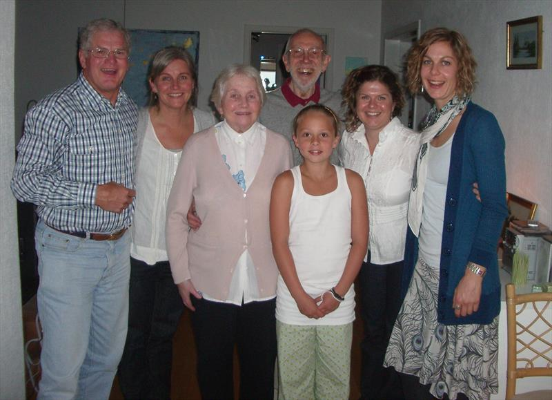 Elvström family with the Pearsons (l-r) Pip Pearson, Trine, Anne, Mia (Paul's Granddaughter) Paul, Lindy and Jill Pearson photo copyright Elvström family taken at