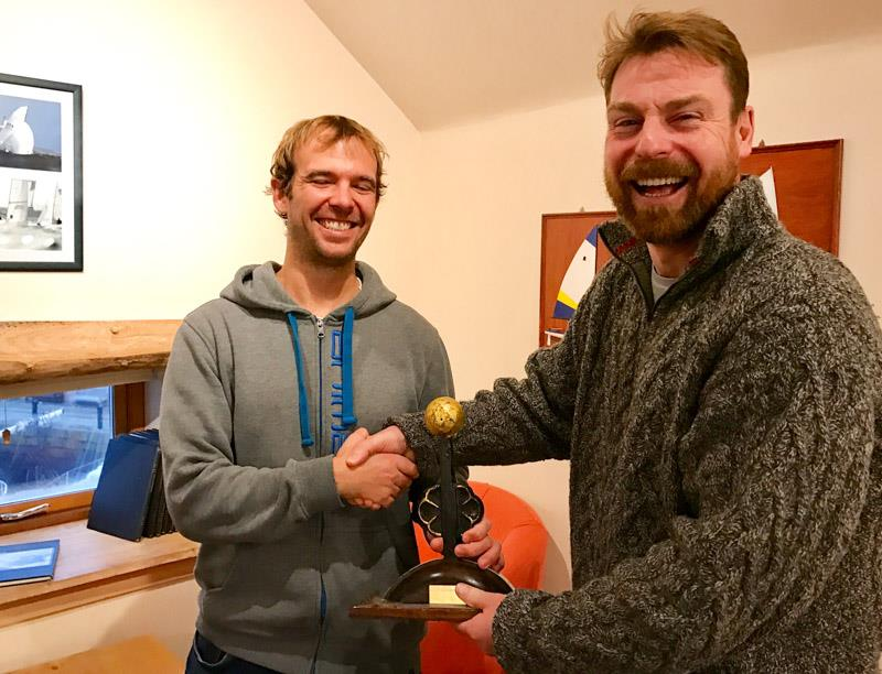 Paul Rigg (left) receives the Icebreaker Trophy from Robbie Lawson, Commodore of East Lothian Yacht Club photo copyright David Farmer taken at East Lothian Yacht Club