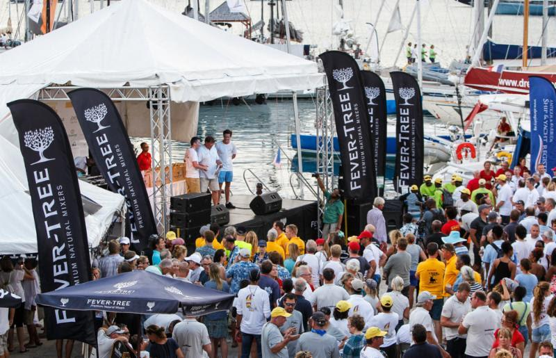 Competitors enjoy the Fever-Tree Race Day Prize Giving on the second day of racing at Antigua Sailing Week - photo © Paul Wyeth / www.pwpictures.com
